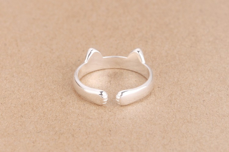 925 Sterling Silver Cat Open Ring