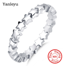 Yanleyu 100% Authentic 925 Sterling Silver Wedding Rings for Women Star Tail Ring Female Finge...
