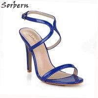 Sorbern Royal Blue Sandals Women High Heels One Strap Open Toe Shoes Ladies Stiletto Summer Sandals