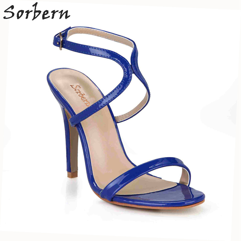 Sorbern Royal Blue Sandals Women High Heels One Strap Open Toe Shoes Ladies Stiletto Summer Sandals Custom Colors Sexy High Heel 2017 summer women sexy gold chains strappy open toe stiletto heel nightclub party high heel sandals dress shoes ladies