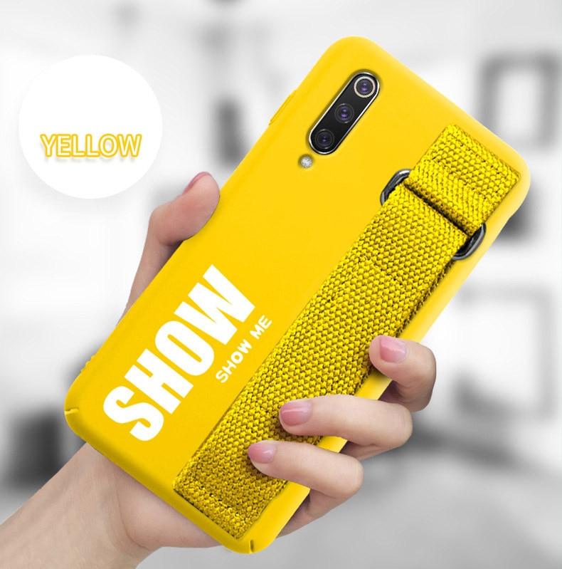 HTB1FI.DLr2pK1RjSZFsq6yNlXXaO For Xiaomi Mi 9T 9 SE 8 Lite Pro 6 6X A2 A1 Note 10 Max 2 3 Mix 2S CC9 CC9E Redmi K20 Case Silicon Matte Cover Hand Strap Funda