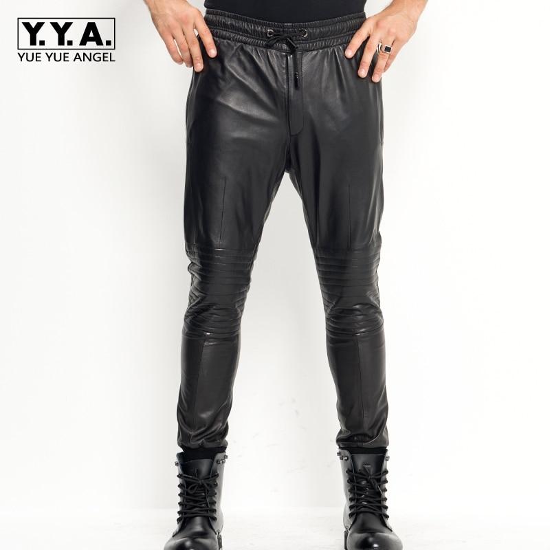 Pantalones De Cuero Genuino Para Hombre новый мужской кошелек на молнии из натуральной овечьей кожи мужские длинные брюки мода плюс Size28 35