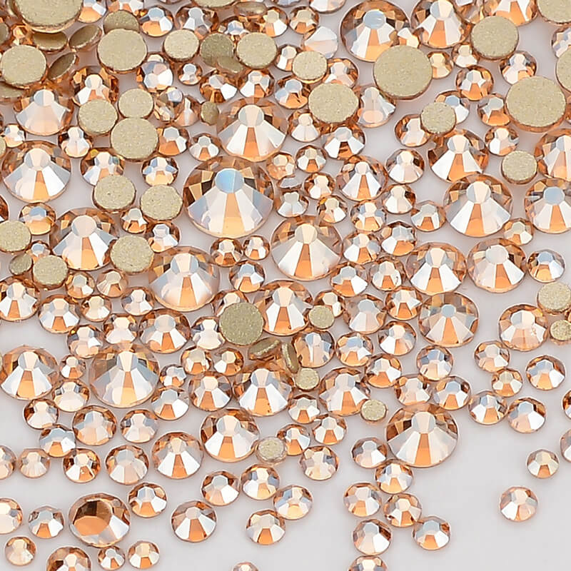 Mix Size Champagne Effects Flat Back Rhinestones For Nail Arts and Crafts-in Rhinestones from Home & Garden