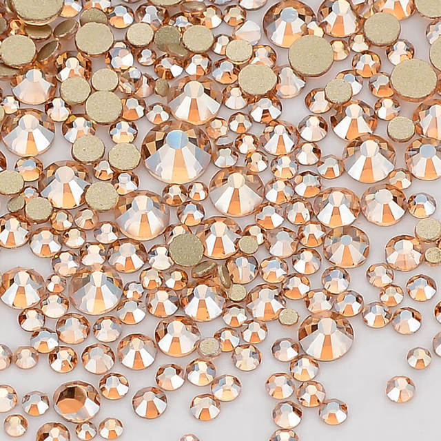 Mix Size Champagne Effects Flat Back Rhinestones For Nail Arts and Crafts