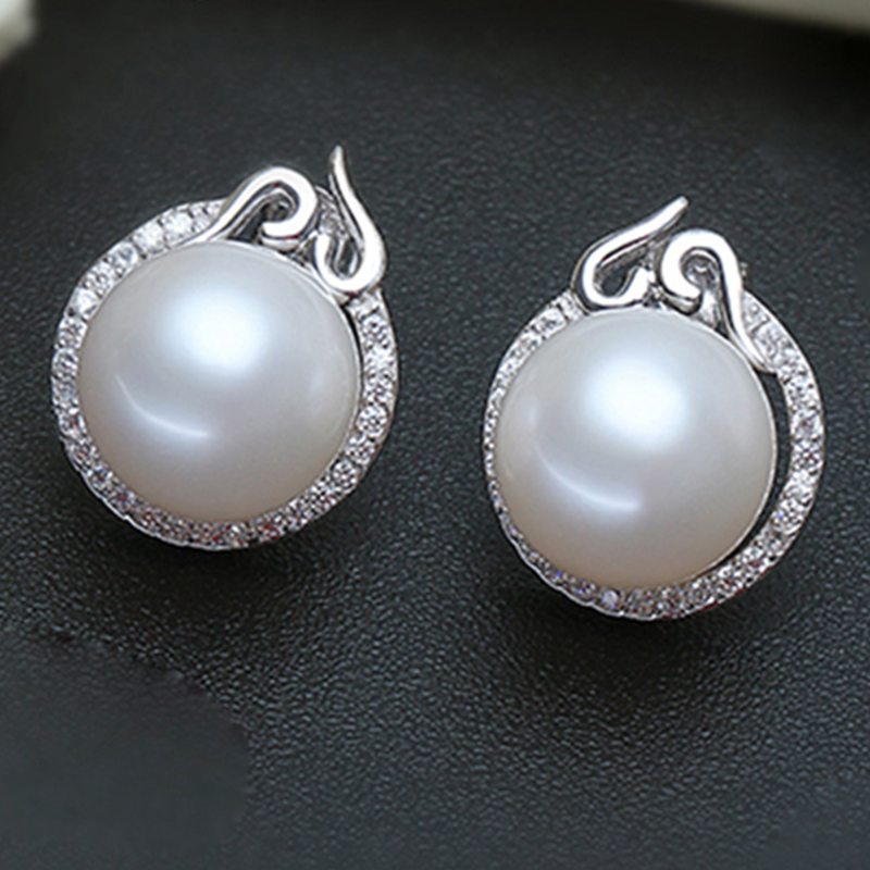 YIKALAISI 2017 100% naturel d'eau douce 10-11mm ronde perle bijoux 925 en argent Sterling boucles d'oreilles pour les femmes filles meilleur cadeau - 3