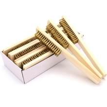 Manche en bois brosse métallique en laiton 6x16 rangées, brosse en cuivre pour appareils industriels, polissage de Surface/intérieur, brosse de nettoyage