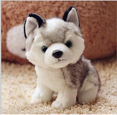 18 CM   Kawaii Simulation Husky Dog Plush Toy Gift For Kids Stuffed Plush Toy New Arrival free shipping stripes sweater design prone husky largest 165cm gray husky dog plush toy sleeping pillow surprised christmas gift h907