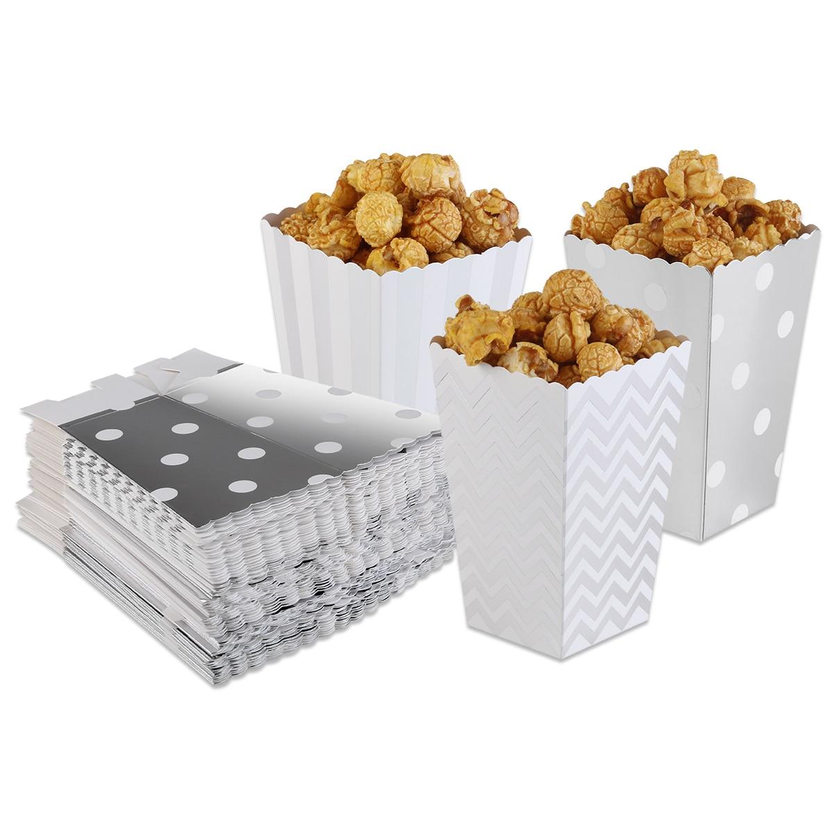 50pcs Popcorn Boxes Yellow Design Trio Miniature Scalloped Edge Cardboard Party CartonsCandy/Sanck Bags Movie Supplies (Silver)