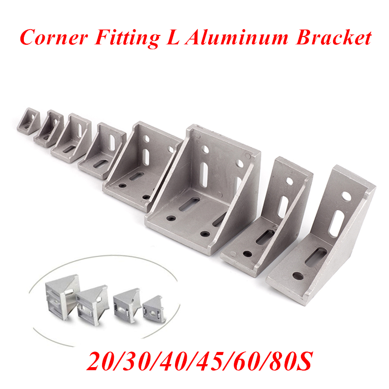 5/20pcs Aluminum 2020 Corner Bracket Fitting 2028 Corner Angle Bracket For 20/30/40/45/60 Aluminum Profile Connector CNC Router