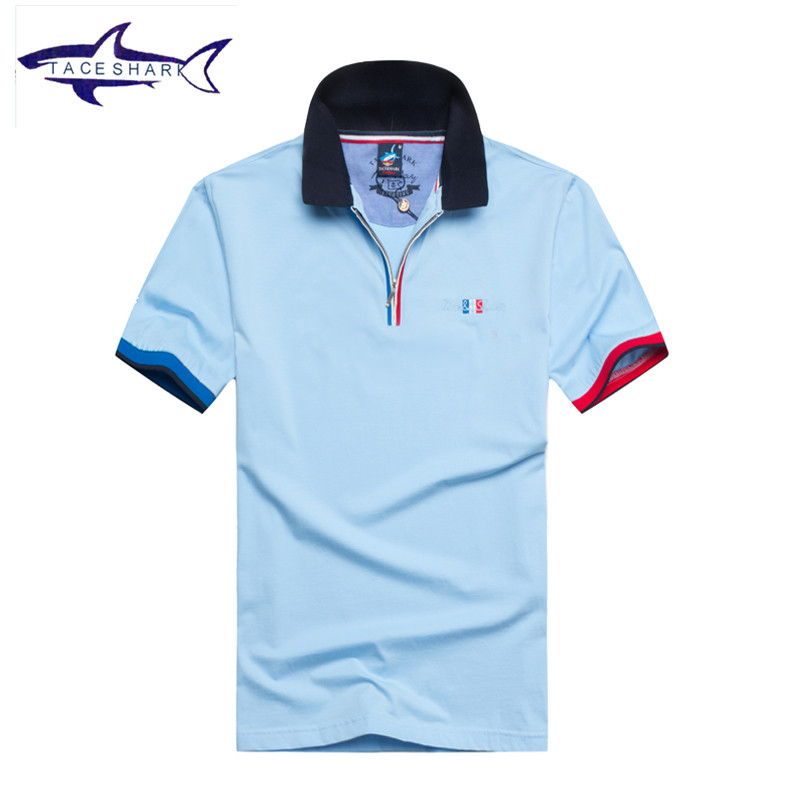 2017 Hot sale Tace Shark polo shirts slim fit solid cotton embroidery lapel casual polo shirt