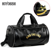 HOYOBISH 2018 Men Leather Luggage Travel Bag Large Capacity Black Duffle Bags Women Leather Weekend Bag bolsa de viagem OH303