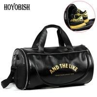 HOYOBISH 2018 Men Leather Luggage Travel Bag Large Capacity Black Duffle Bags Women Leather Weekend Bag bolsa de viagem OH303