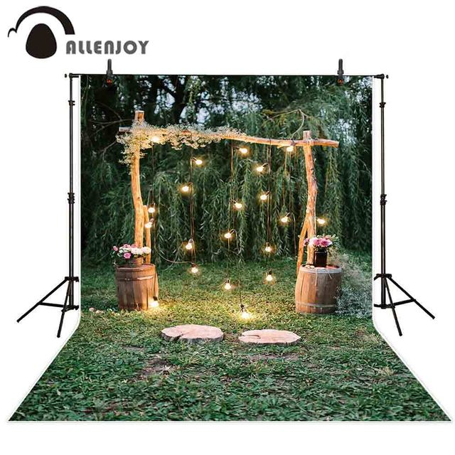 Allenjoy photography backdrop rustic Wedding glitter wood arch flower forest background photo studio photocall photophone shoot