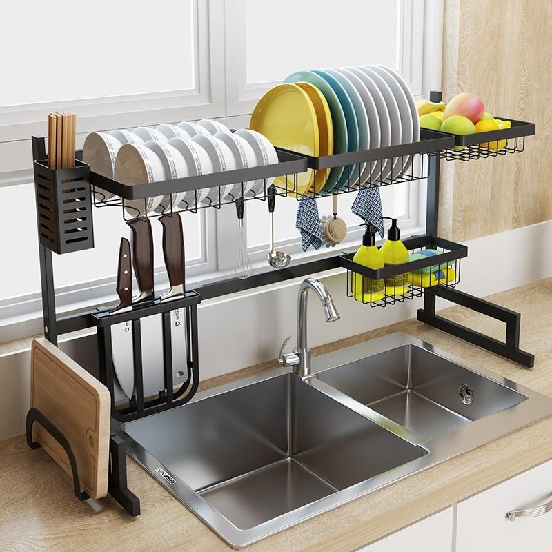 65/85 cm Black stainless steel kitchen rack dish rack