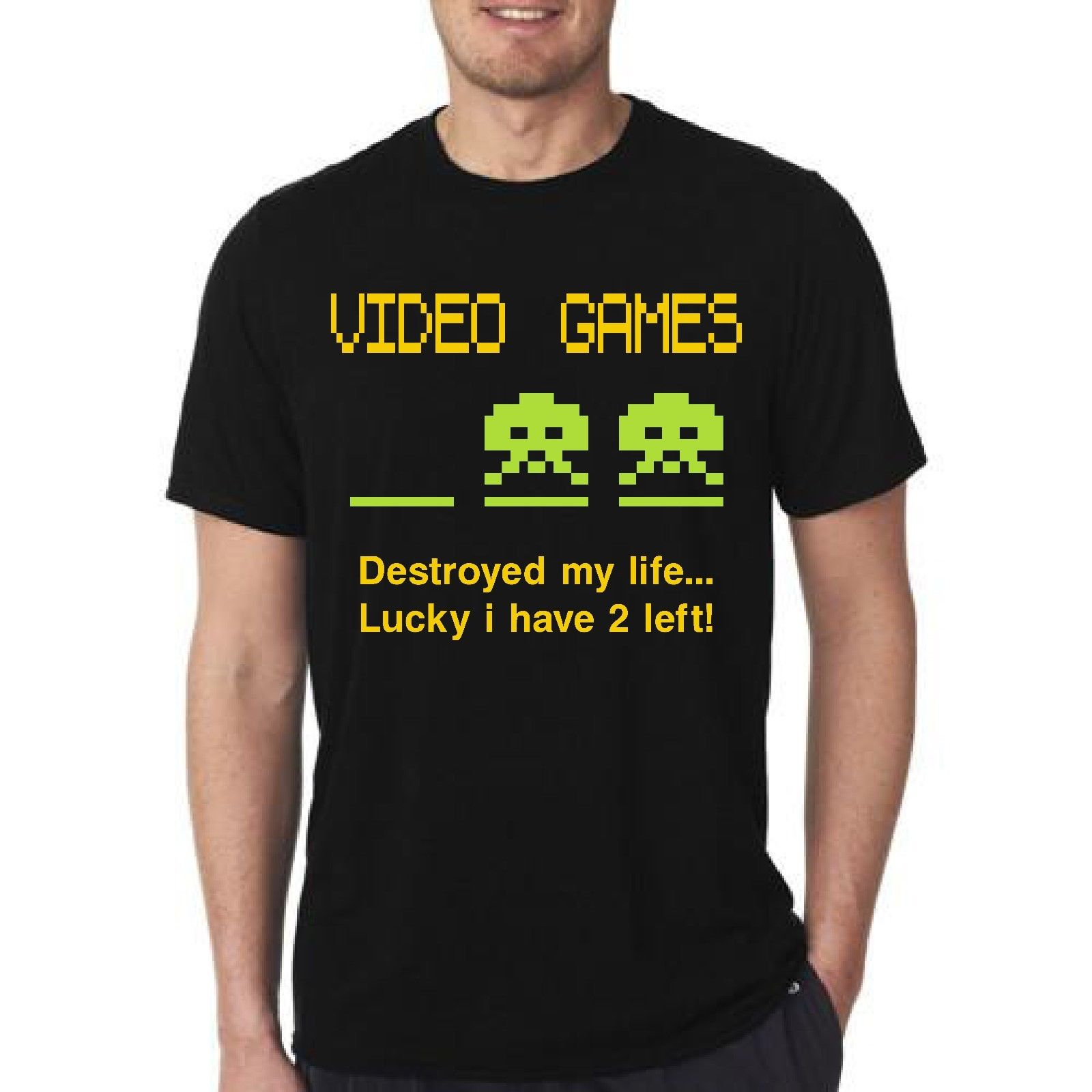 Cotton Shirts Cheap Wholesale VIDEO GAMES DESTROED MY LIFE T-SHIRT