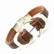 2016 Handmade Retro Leather Woven Anchor Charm Bracelet Men Vintage Braided Bracelets Bangles Male Jewelry