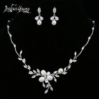 Luxury AAA Cubic Zircon Jewerly Sets For Women Gorgeous Flower Pearl Bridal Jewelry Set Parure Bijoux Femme Mariage AS154
