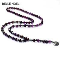 Diseño de Moda de lujo Púrpura Cristales de Piedra Natural Mala Loto Ohm Colgante Reiki Sanación Cargada Budista Rosario Collar