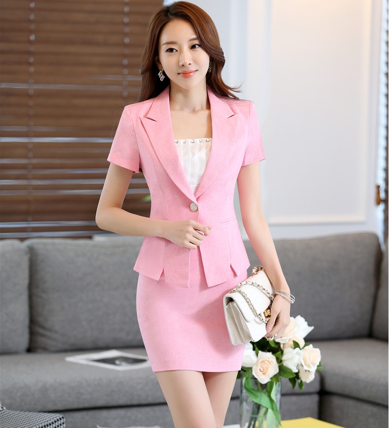 Novelty Pink Slim Fashion Professional Work Wear Suits With