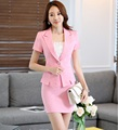 Novelty Pink Slim Fashion Professional Work Wear Suits With Jackets And Skirt Summer Business Women Beauty Salon Outfits Set