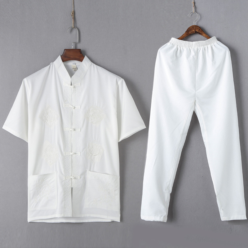 New Chinese Men Polyester Embroidery Dragon Kung Fu Suit short Sleeve shirt Pant Wu Shu Uniform Tai Chi Clothing M L XL XXL XXXL