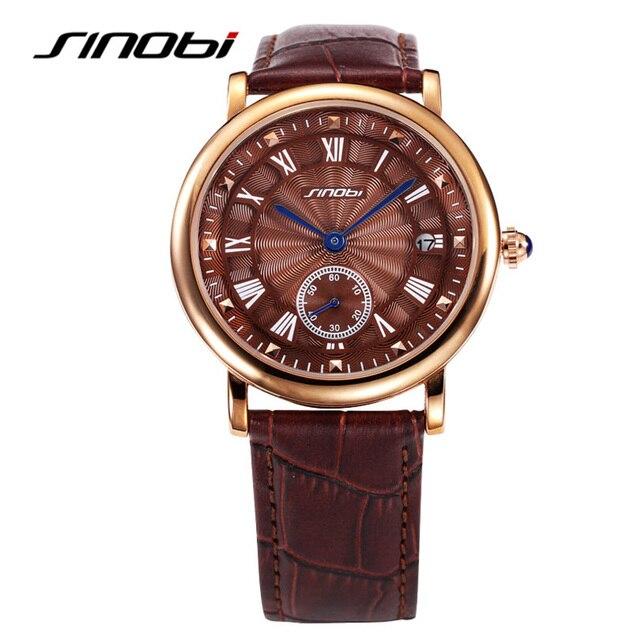 62ce04a617c 2017 famosa marca sinobi relógios homens relógio masculino pulseira de  couro auto data relógio de quartzo