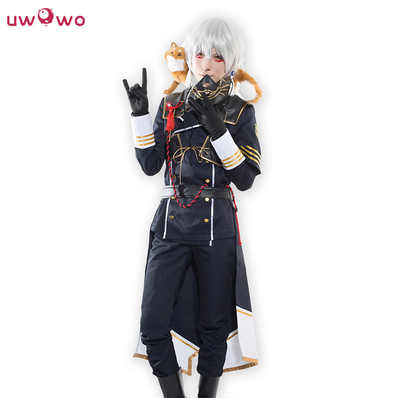 UWOWO Nakigitsune Cosplay Touken Ranbu Online Cool Polyester Costume With Tie Gloves & Mask Touken Ranbu Nakigitsune Cosplay Men