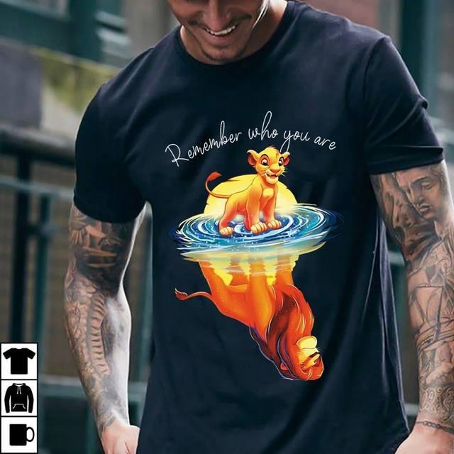 360968add The Lion King Remember Who You Are T Shirt Navy Cotton Men Cartoon t shirt  men Unisex New Fashion tshirt free shipping funny