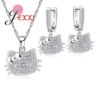 JEXXI 925 Stamp Sterling Silver Cubic Zircon Stone Jewelry Set Cute Kitty Cat Necklace Earrings For