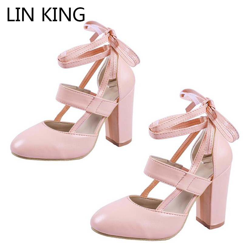 LIN KING Sweet Lace Up Knot Women Pumps High Heel Round Toe Single Shoes Square Heel Solid Lady Lolita Party Shoes Plus Size 43 lin king sweet bowtie round toe buckle lolita shoes new style summer fashion sexy lady pumps women shoes high heel party shoes