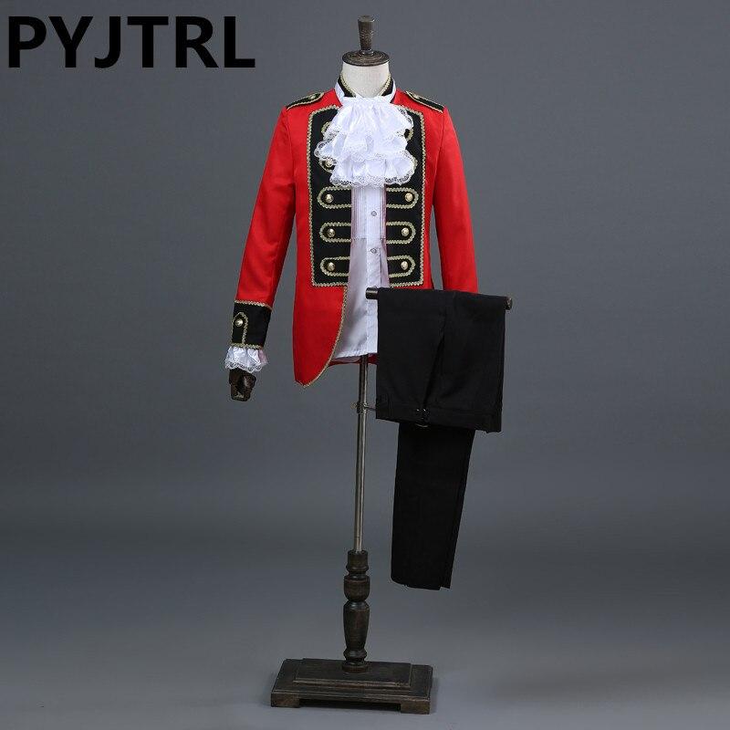 PYJTRL Europe Style Prince Magic Show Red Black Royal Court Tuxedo Mens Wedding Suits Costume Homme Latest Coat Pant Designs