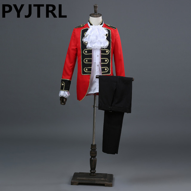 PYJTRL Europe Style Prince Spectacle de Magie Rouge Noir Royal Court  Smoking Hommes Costumes de Mariage 8ee9969561b