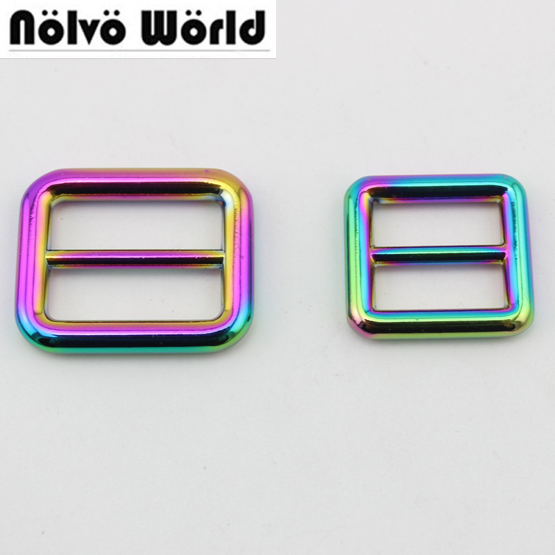 10pcs 50pcs Rainbow 19mm 25mm 32mm 38mm Bags Strap Handbag Shoulder Strap Adjust Round Edge Buckle High Quality Slider Tri-glide