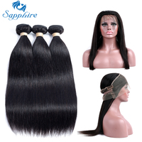 Sapphire Peruvian Straight Remy Human Hair 360 Lace Frontal With Bundle 1BColor For Hair Salon High