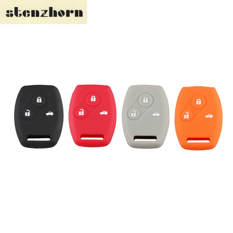 Stenzhorn Colorful Silicone Case Car Key Cover 3 Buttons For Honda Accord CR-V CRV Civic Pilot Odyssey Remote Key Shell keyyou car style remote key fob case shell 2 buttons for honda civic crv accord jazz