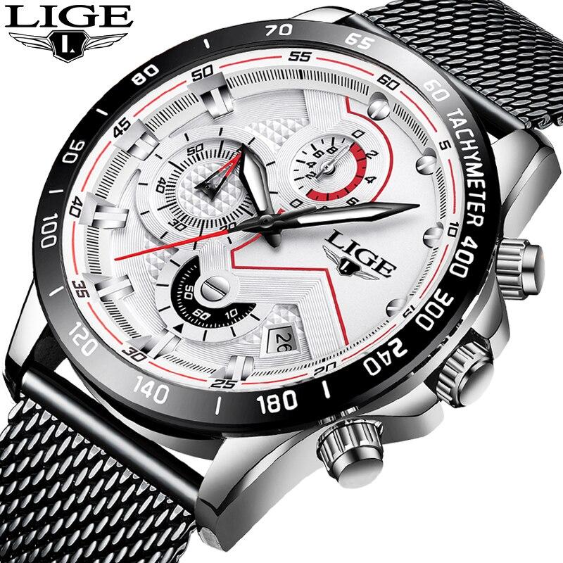 2019 New LIGE Blue Casual Mesh Belt Fashion Quartz Watch Mens Watches Top Brand Luxury Waterproof Clock Relogio Masculino+Box