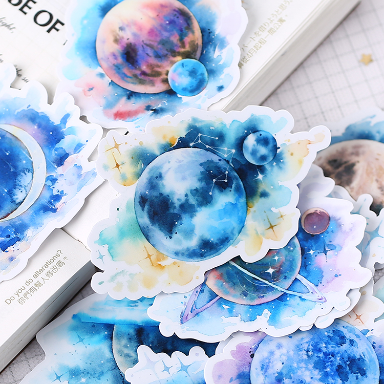15pcs Vintage Cosmic Planet Fantasy Planet Decoration Stationery Sticker Diy Diary Scrapbooking Label Sticker Stationery