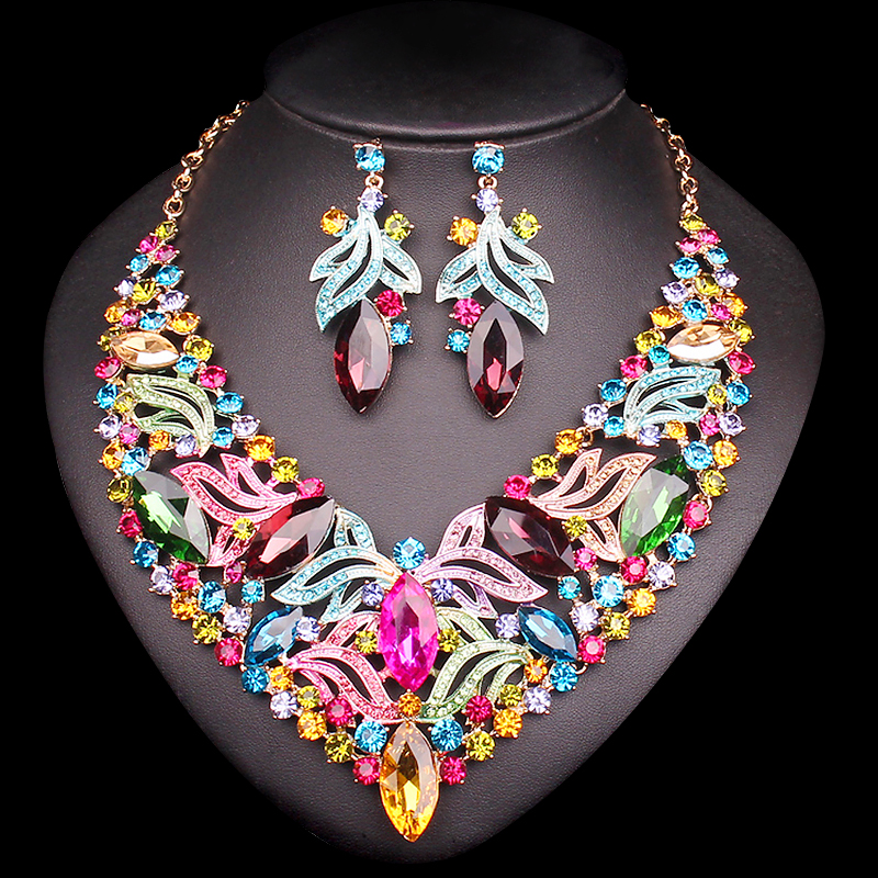 Fashion Leaf Bridal Jewelry Sets Wedding Engagement Necklace Earrings sets for Brides Party Costume Decoration Jewellery