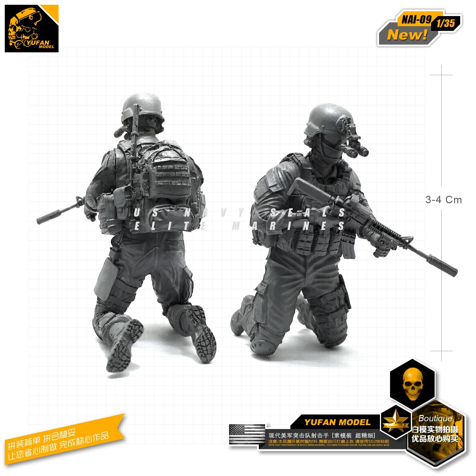 Yufan Model 1/35 Figure Model Accessories Kits Us Seal Sniper 2 Resin Soldier Model  Unmounted Nai-09