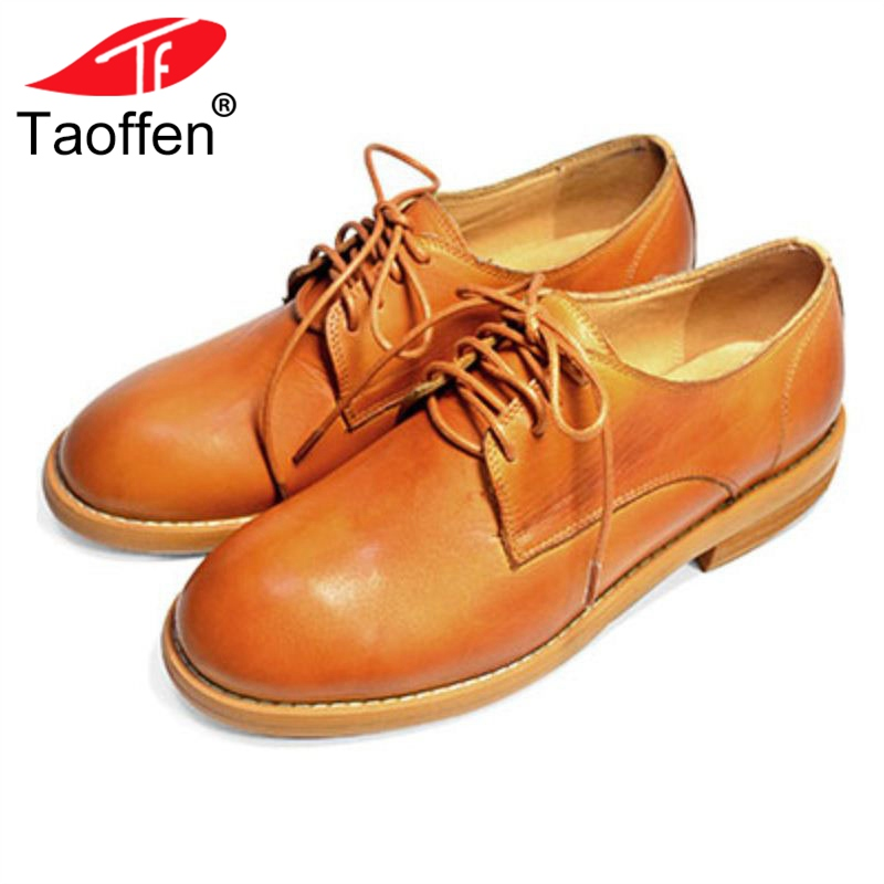 TAOFFEN 5 Colors Women Flats Genuine Leather Lace Up Round Toe Woman Shoes Fashion Shoes Women Footwear Size 34-40 foreada genuine leather shoes women flats round toe lace up oxfords shoes real leather casual boat shoes brown pink size 34 40