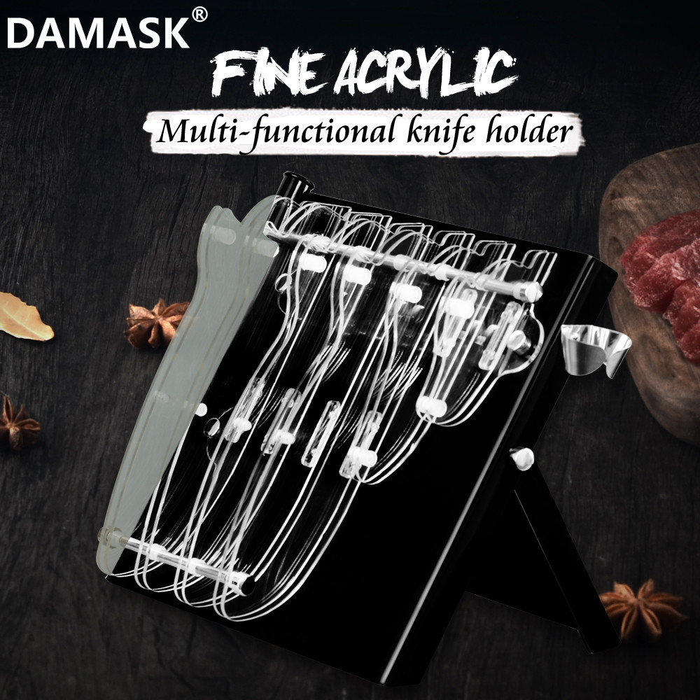 DAMASK 6 PCS Knife Knife Stand Black Chef Cutlery Holder Stainless Steel Knives Ceramic Knives Block Acrylic Kitchen Storage