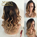 Dark Roots Ombre Blonde Hair Full Lace Human Hair Wigs Three Tone Ombre Hair Lace Front Wig With Baby Hair Bleached Knots