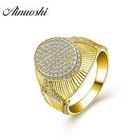 AINUOSHI 10 K массивная, желтая, Золотая свадебная лента, нежное Винтажное кольцо с кисточкой, роскошное 9,4 г обручальное Золотое Ювелирное кольцо