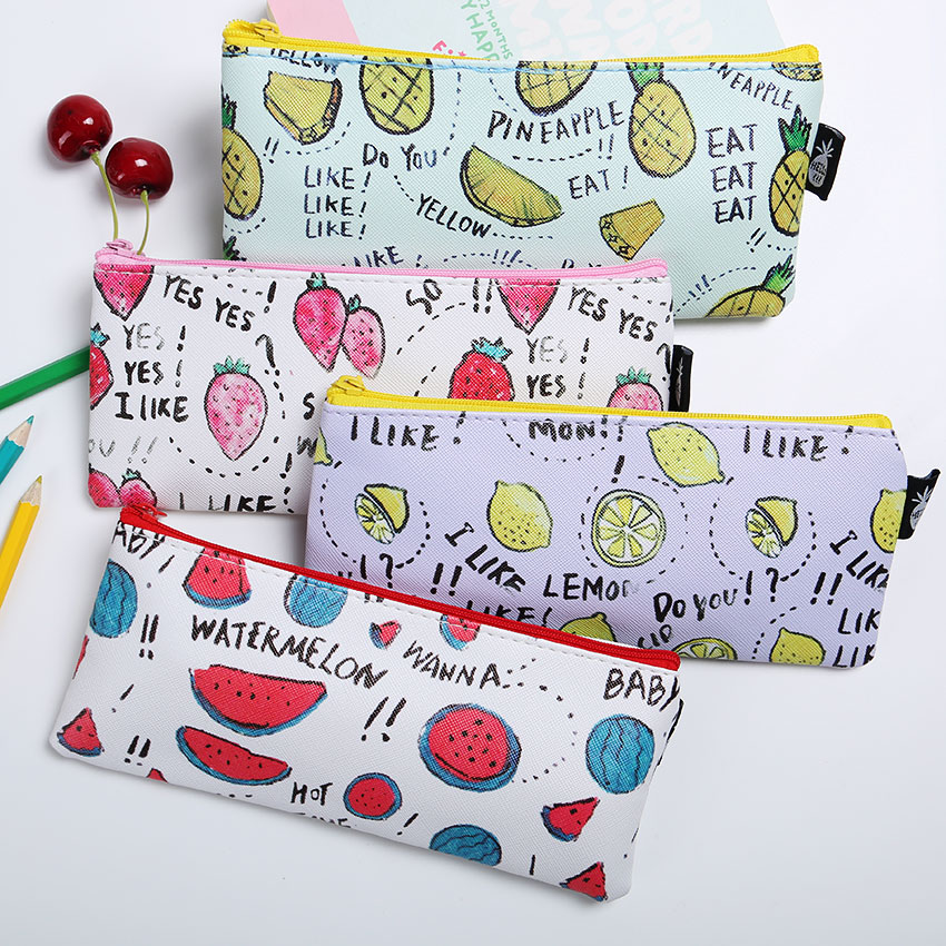 1 PC Fresh Style Fruits PU Leather Pencil Case Stationery Storage Organizer Bag School Office Supply Escolar