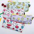 1 pcs Fresh Style Fruits PU Leather Pencil Case Stationery Storage Organizer Bag School Office Supply Escolar