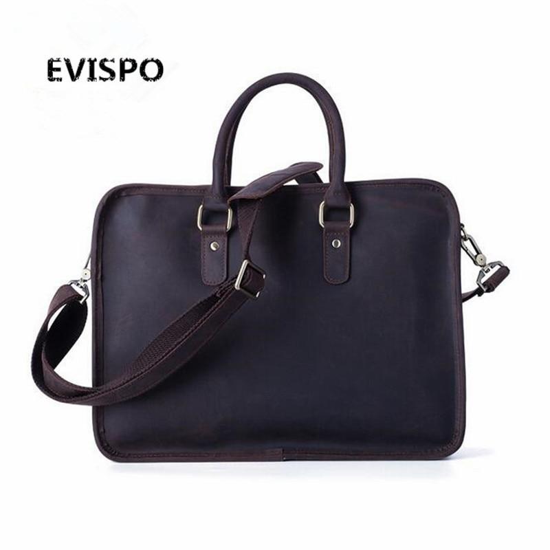 Top Grade Handmade Mens Real Crazy Horse Leather Briefcase Vintage Style Messenger Shoulder 14 inch Laptop Bag Case Handbag