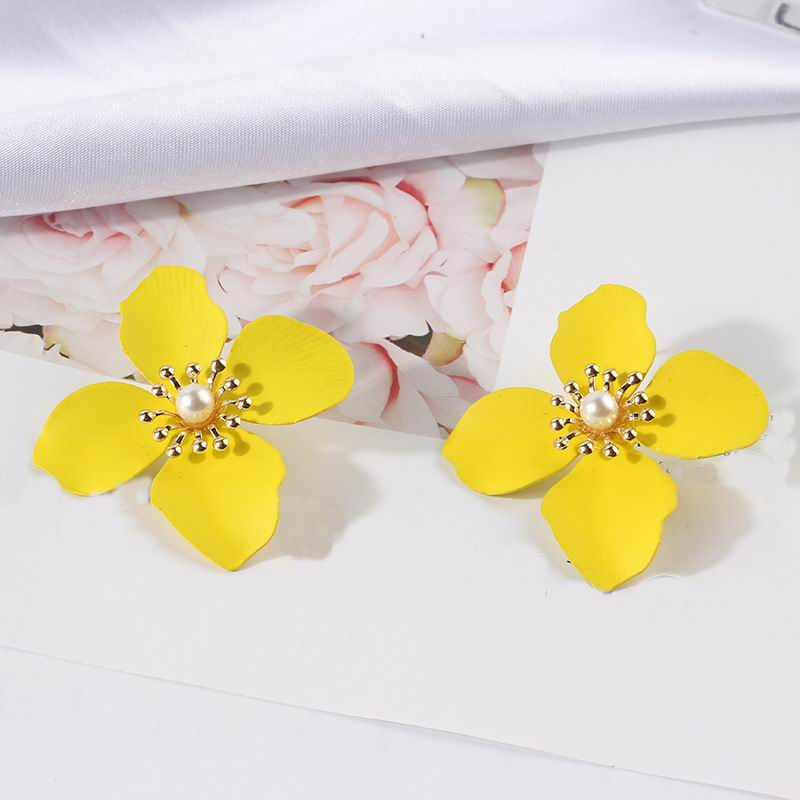 Statement Flower Earrings For Women Fashion Jewelry Pendientes Big 2019 New Jewelry Boho Summer Party Yellow Pink White Green in Drop Earrings from Jewelry Accessories