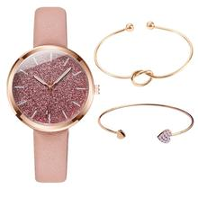 Zegarek Damski 3pc/set New Fashion Watch Women Romantic Glitter Wristwatches Leather Ladies Quartz Watches Clock bayan kol saati