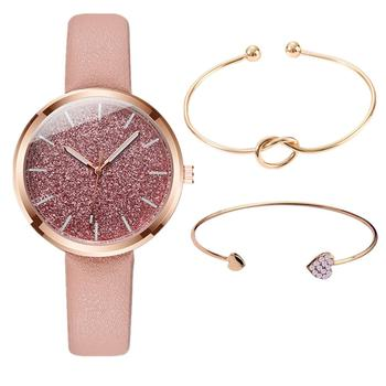 Zegarek Damski 3pc/set New Fashion Watch Women Romantic Glitter Wristwatches Leather Ladies Quartz Watches Clock bayan kol saati women leather band quartz watches rose gold case fashion casual watch rectangle dial roman number wristwatches bayan kol saati