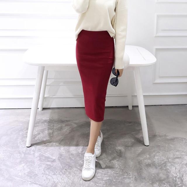 b913e0c48 Solid Split Korean Pencil Women's Midi Skirt Autumn Spring Sim Hipster  Elegant Womens Skirts 2018 Fashion